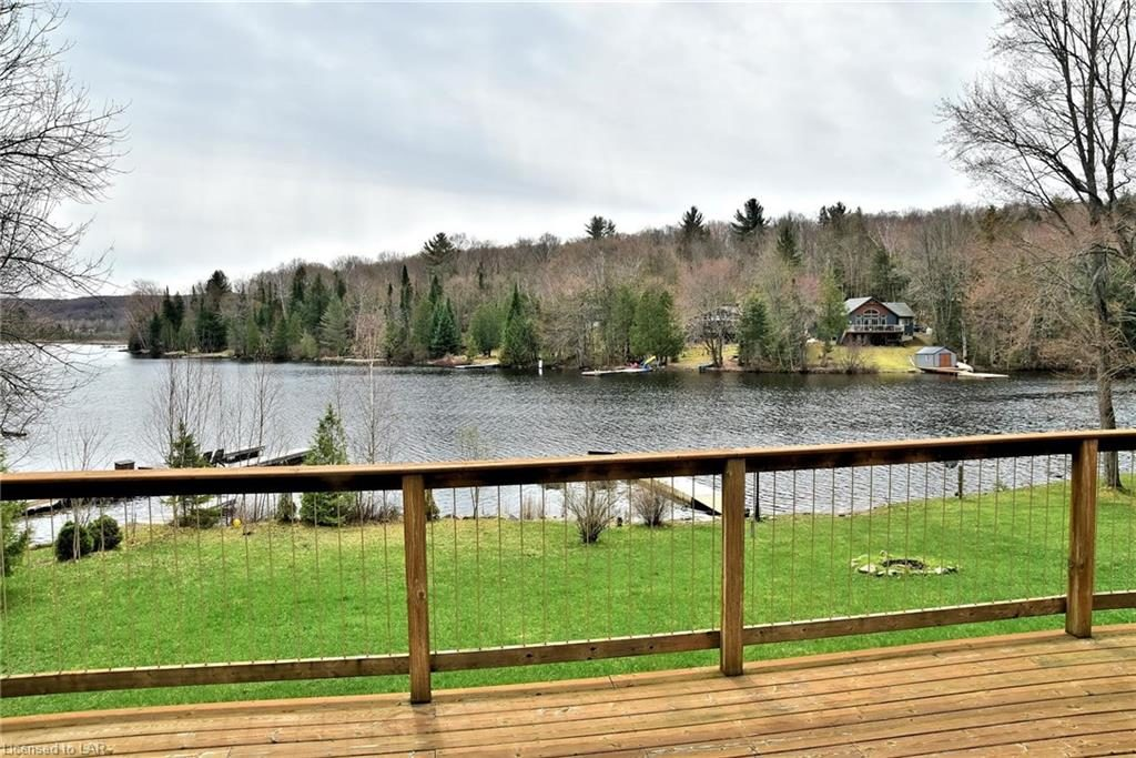 View over the water from the deck of this Grass Lake cottage