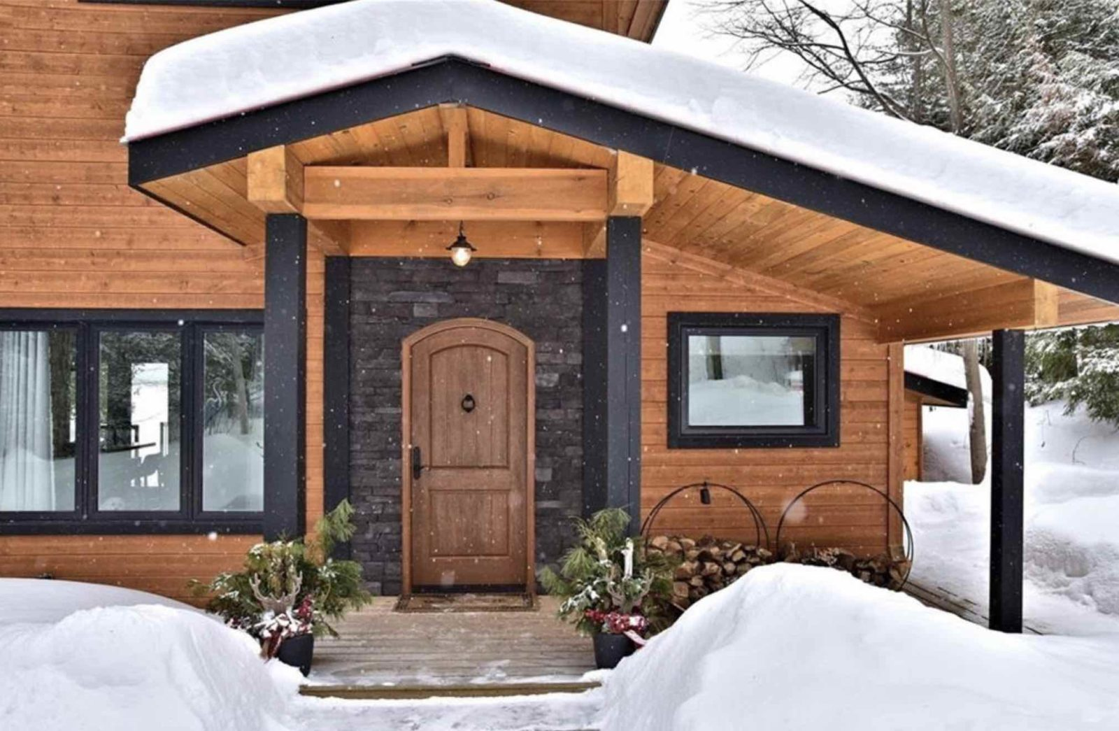 Kennisis Lake Road Cottage for sale front porch in winter
