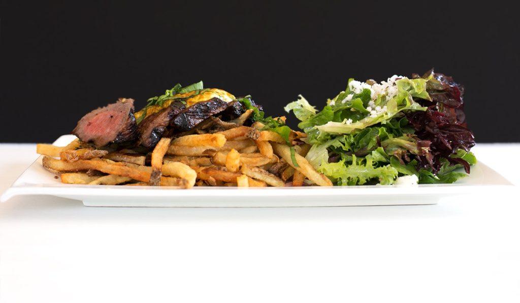 Rhubarb Haliburton's signature dish is steak and frites
