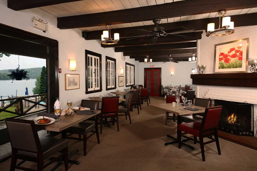 Interior view of Twin Fires restaurant at Sir Sam's Inn Spa